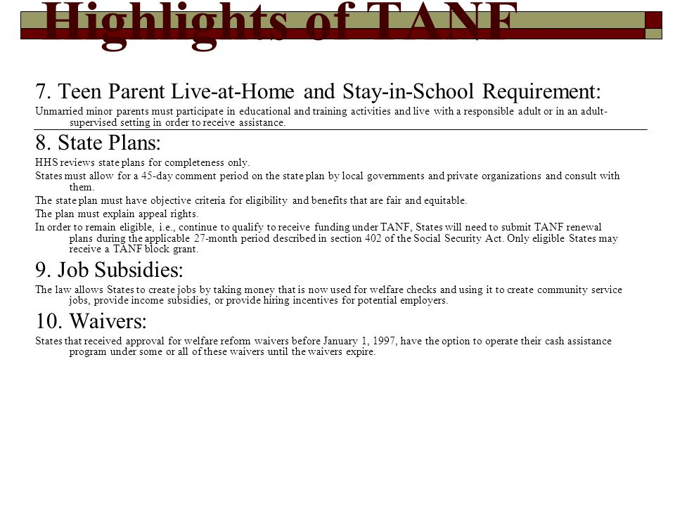 Highlights of TANF 11.