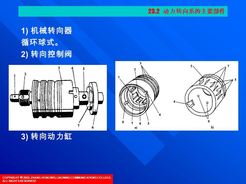COPYRIGHT  2002, ZHANG HONGWEI, LIAONING COMMUNICATIONS COLLEGE. ALL RIGHTS RESERVED! 1) 机械转向器 循环球式。 2) 转向控制阀 3) 转向动力缸 23.2 动力转向系的主要部件