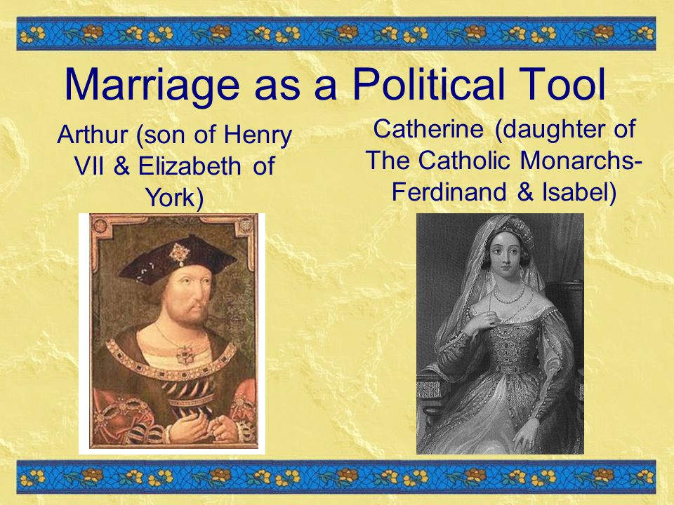 Marriage as a Political Tool Catherine (daughter of The Catholic Monarchs- Ferdinand & Isabel) Arthur (son of Henry VII & Elizabeth of York)