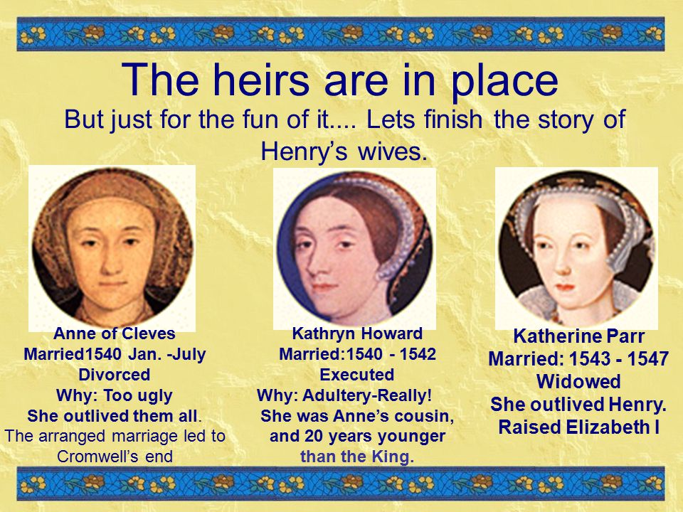 The heirs are in place But just for the fun of it....