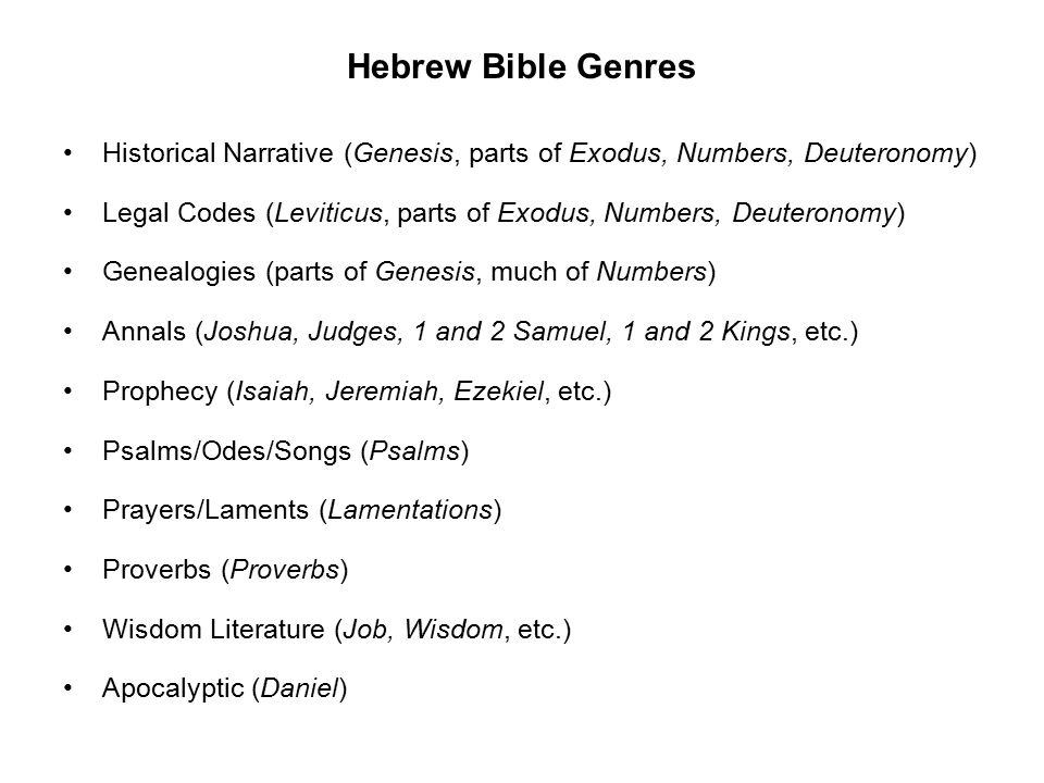 Hebrew Bible Genres Historical Narrative (Genesis, parts of Exodus, Numbers, Deuteronomy) Legal Codes (Leviticus, parts of Exodus, Numbers, Deuteronomy) Genealogies (parts of Genesis, much of Numbers) Annals (Joshua, Judges, 1 and 2 Samuel, 1 and 2 Kings, etc.) Prophecy (Isaiah, Jeremiah, Ezekiel, etc.) Psalms/Odes/Songs (Psalms) Prayers/Laments (Lamentations) Proverbs (Proverbs) Wisdom Literature (Job, Wisdom, etc.) Apocalyptic (Daniel)