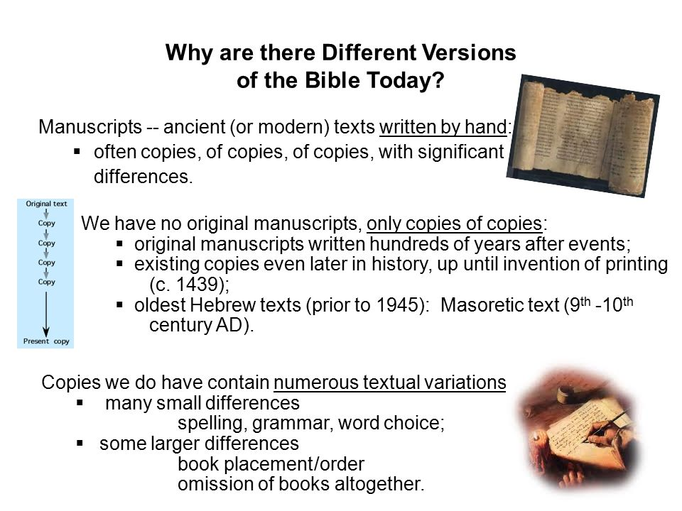 Why are there Different Versions of the Bible Today.