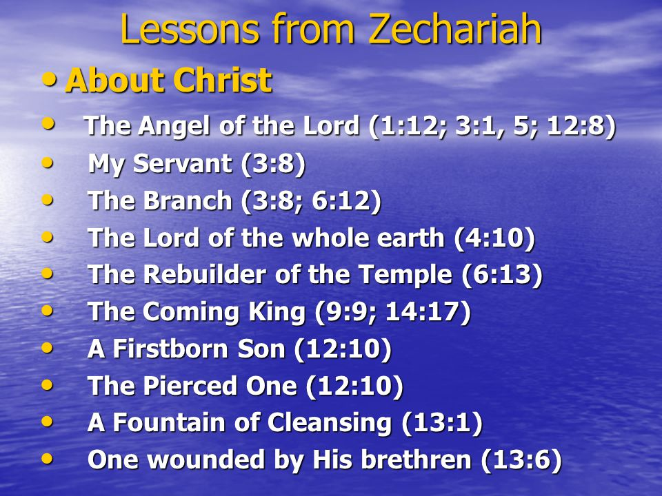Lessons from Zechariah About Christ About Christ The Angel of the Lord (1:12; 3:1, 5; 12:8) The Angel of the Lord (1:12; 3:1, 5; 12:8) My Servant (3:8) My Servant (3:8) The Branch (3:8; 6:12) The Branch (3:8; 6:12) The Lord of the whole earth (4:10) The Lord of the whole earth (4:10) The Rebuilder of the Temple (6:13) The Rebuilder of the Temple (6:13) The Coming King (9:9; 14:17) The Coming King (9:9; 14:17) A Firstborn Son (12:10) A Firstborn Son (12:10) The Pierced One (12:10) The Pierced One (12:10) A Fountain of Cleansing (13:1) A Fountain of Cleansing (13:1) One wounded by His brethren (13:6) One wounded by His brethren (13:6)