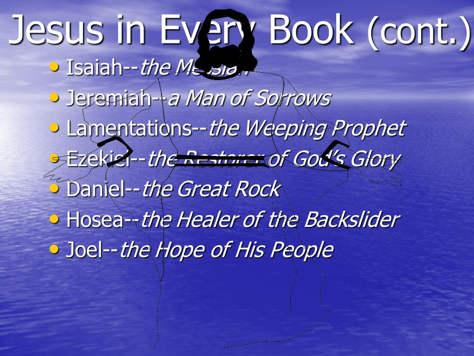 Jesus in Every Book (cont.) Isaiah--the Messiah Isaiah--the Messiah Jeremiah--a Man of Sorrows Jeremiah--a Man of Sorrows Lamentations--the Weeping Prophet Lamentations--the Weeping Prophet Ezekiel--the Restorer of God's Glory Ezekiel--the Restorer of God's Glory Daniel--the Great Rock Daniel--the Great Rock Hosea--the Healer of the Backslider Hosea--the Healer of the Backslider Joel--the Hope of His People Joel--the Hope of His People