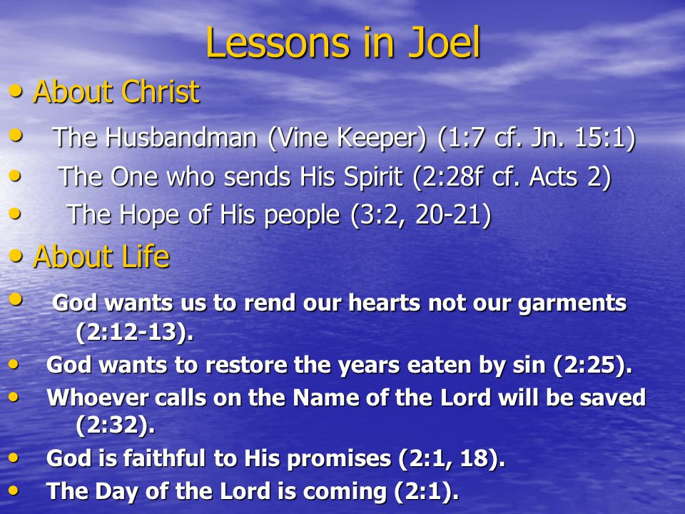 Lessons in Joel About Christ About Christ The Husbandman (Vine Keeper) (1:7 cf.