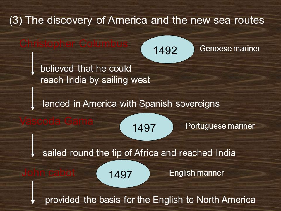 (3) The discovery of America and the new sea routes Christopher Columbus 1492 believed that he could reach India by sailing west landed in America with Spanish sovereigns Genoese mariner Vascoda Gama 1497 Portuguese mariner sailed round the tip of Africa and reached India John cabot 1497 English mariner provided the basis for the English to North America