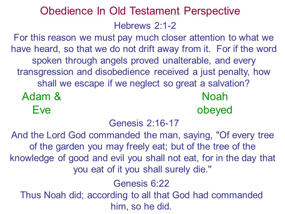 Obedience In Old Testament Perspective Hebrews 2:1-2 For this reason we must pay much closer attention to what we have heard, so that we do not drift away from it.