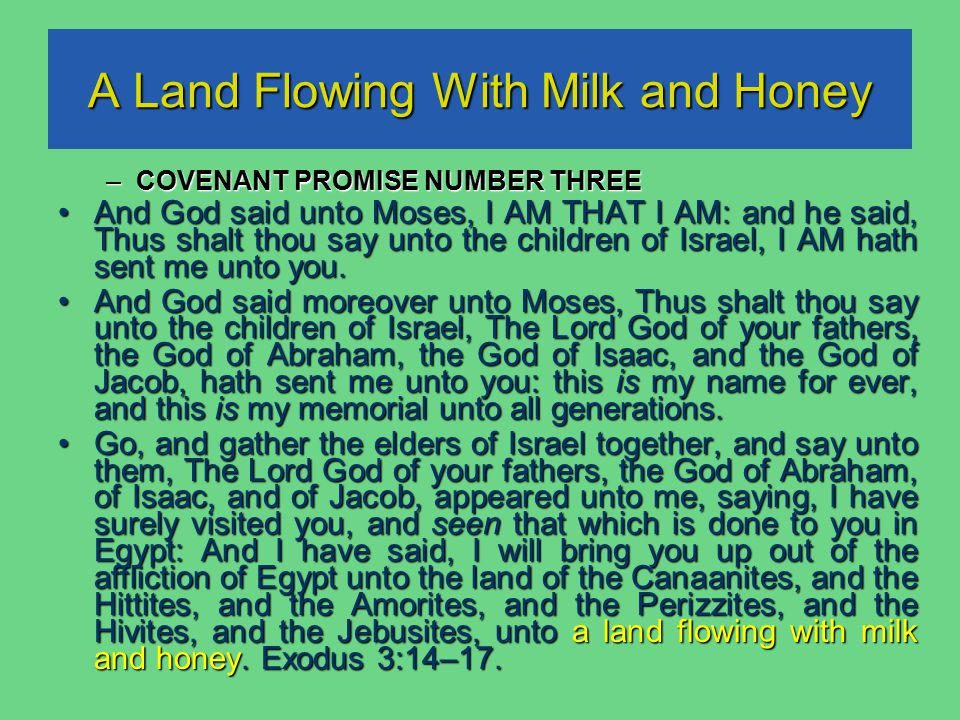 A Land Flowing With Milk and Honey –COVENANT PROMISE NUMBER THREE And God said unto Moses, I AM THAT I AM: and he said, Thus shalt thou say unto the children of Israel, I AM hath sent me unto you.