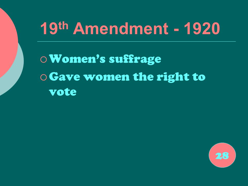 19 th Amendment - 1920  Women's suffrage  Gave women the right to vote 28