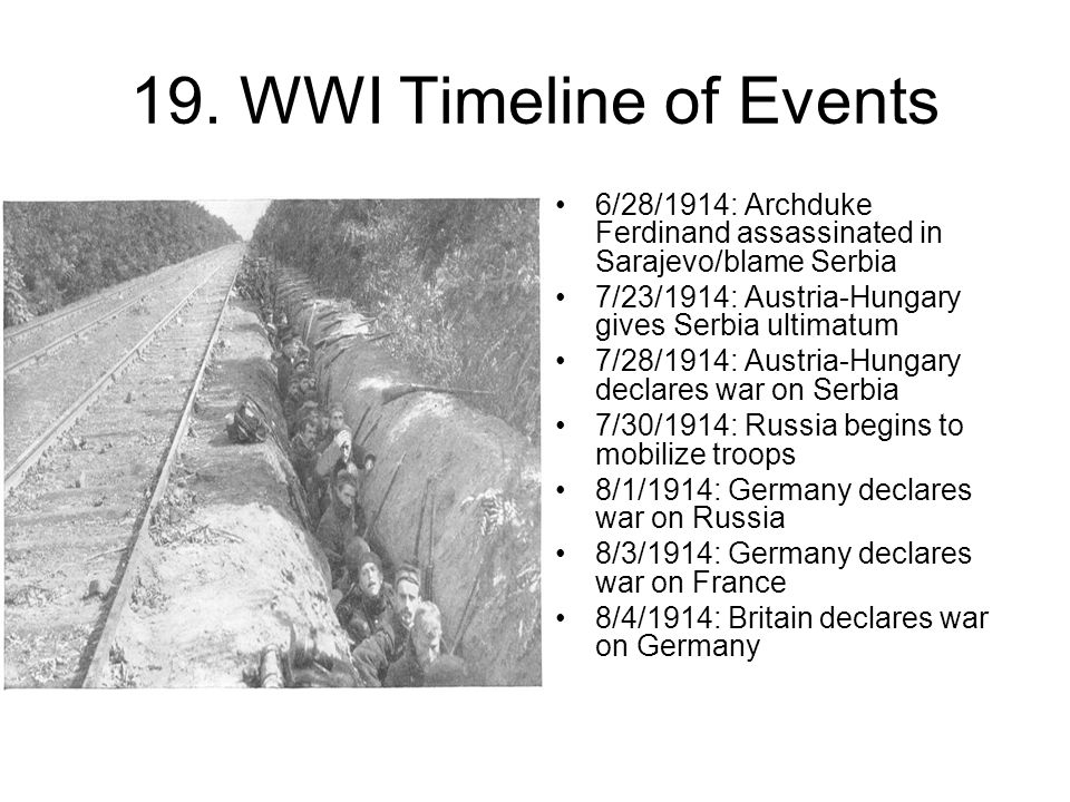 19. WWI Timeline of Events 6/28/1914: Archduke Ferdinand assassinated in Sarajevo/blame Serbia 7/23/1914: Austria-Hungary gives Serbia ultimatum 7/28/