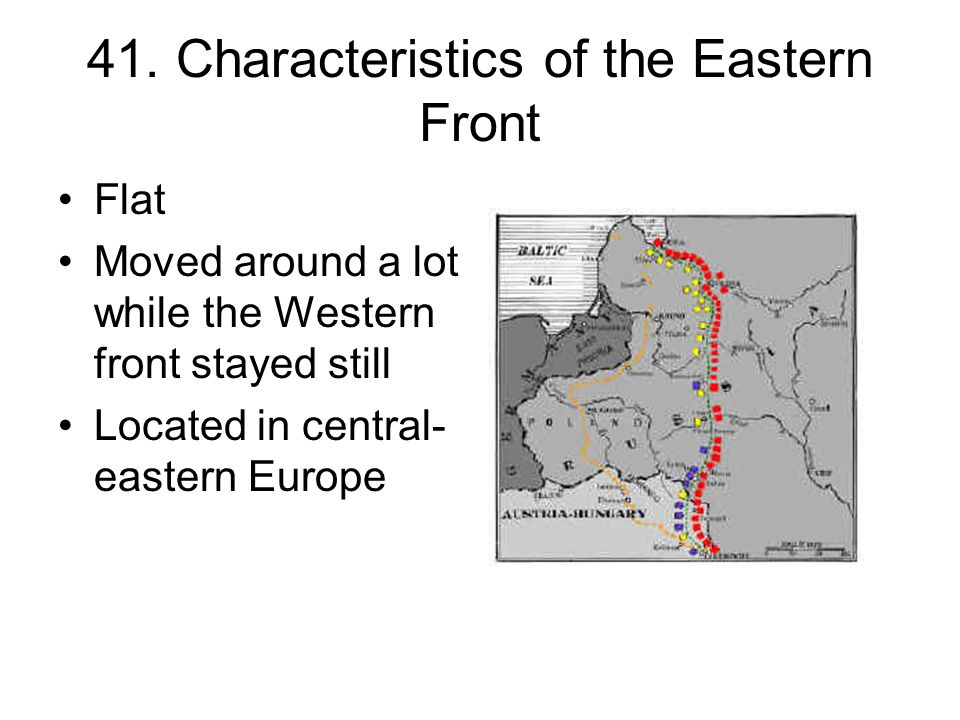 41. Characteristics of the Eastern Front Flat Moved around a lot while the Western front stayed still Located in central- eastern Europe