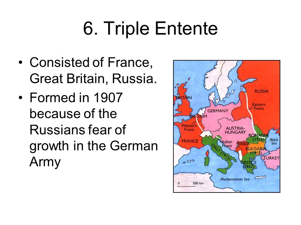 6. Triple Entente Consisted of France, Great Britain, Russia.