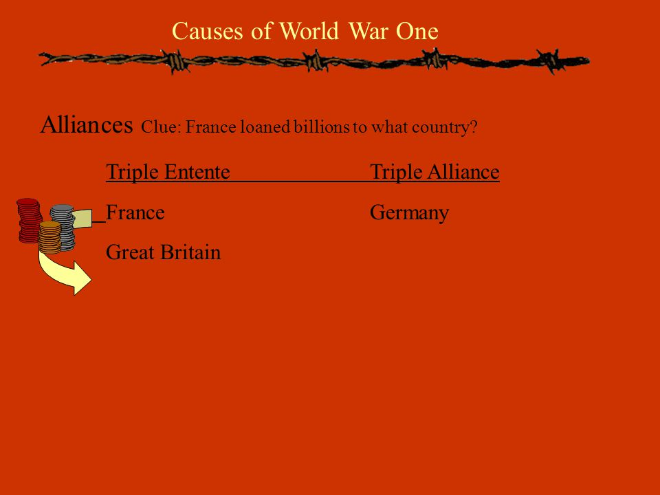 Causes of World War One Alliances Clue: France loaned billions to what country.