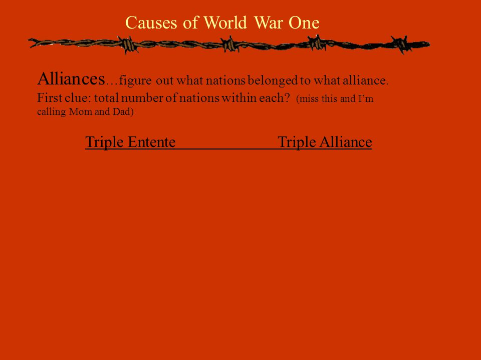 Causes of World War One Alliances …figure out what nations belonged to what alliance.