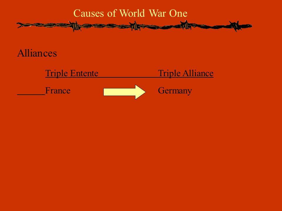 Causes of World War One Alliances Triple EntenteTriple Alliance FranceGermany