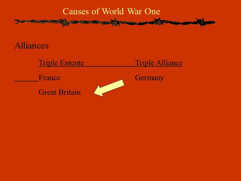 Causes of World War One Alliances Triple EntenteTriple Alliance FranceGermany Great Britain