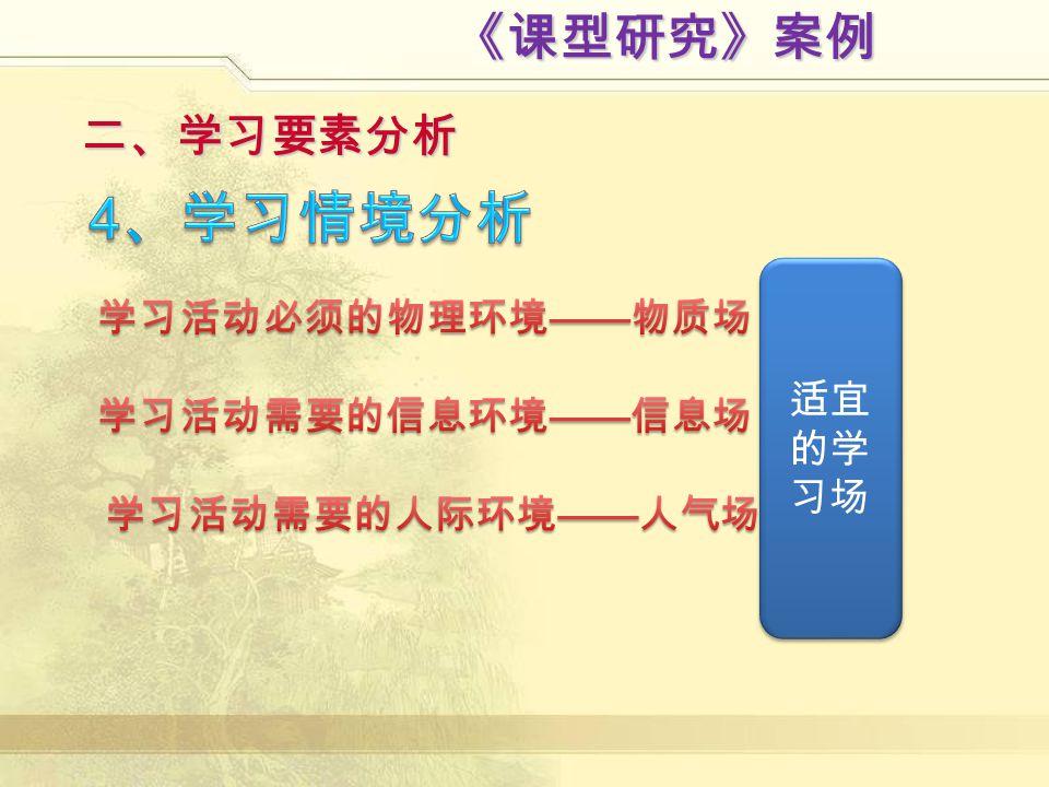 《课型研究》案例 二、学习要素分析 适宜 的学 习场
