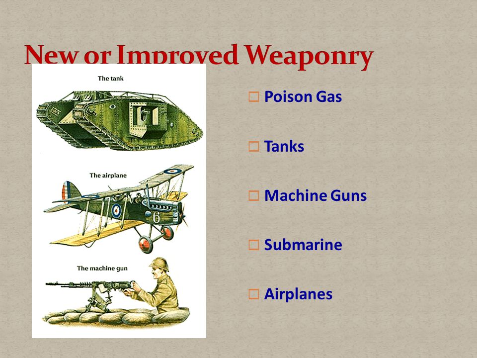  Poison Gas  Tanks  Machine Guns  Submarine  Airplanes