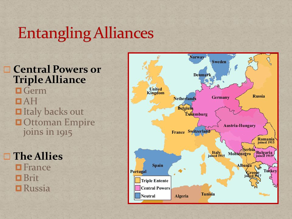  Central Powers or Triple Alliance  Germ  AH  Italy backs out  Ottoman Empire joins in 1915  The Allies  France  Brit  Russia