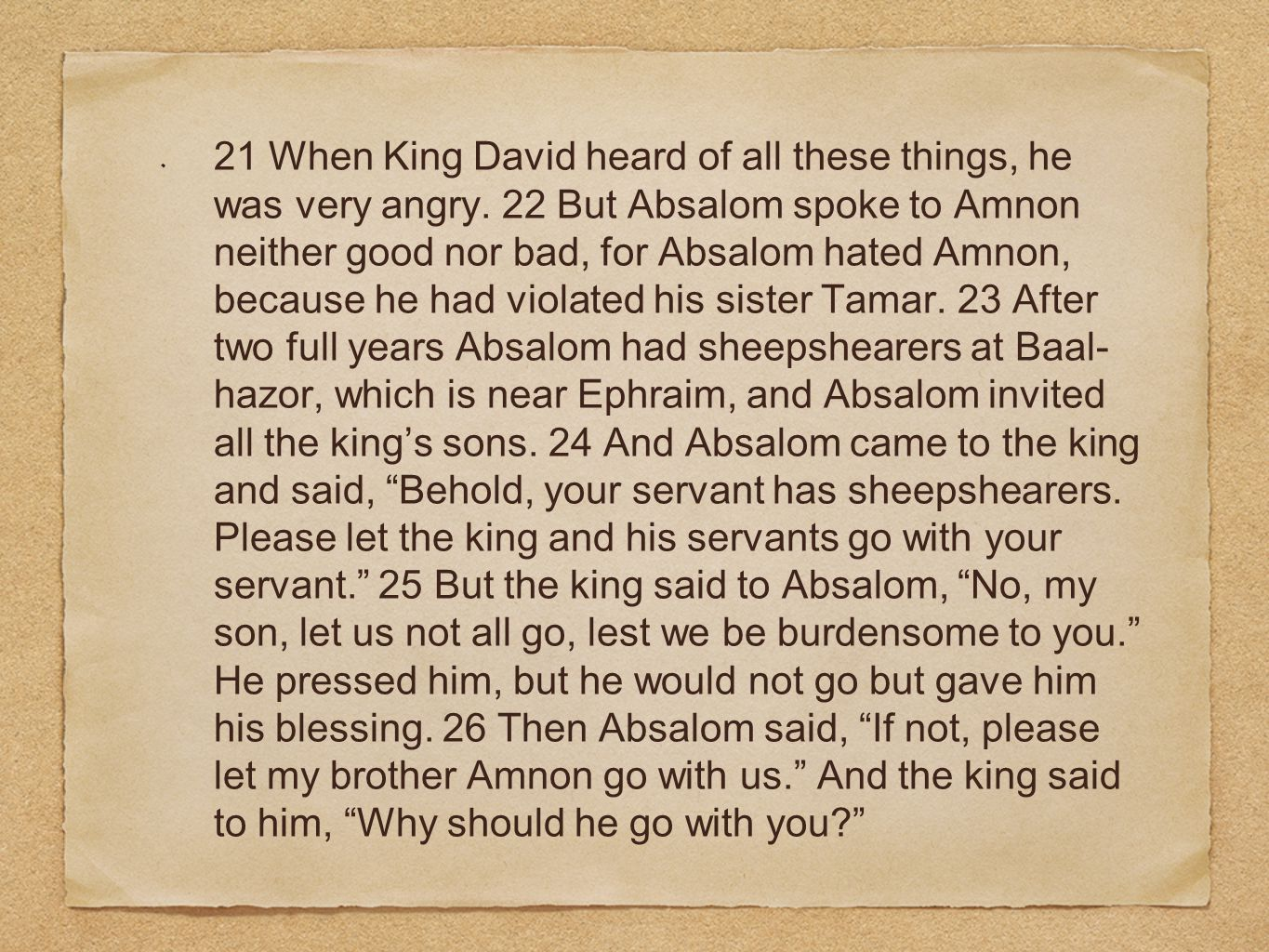 21 When King David heard of all these things, he was very angry.