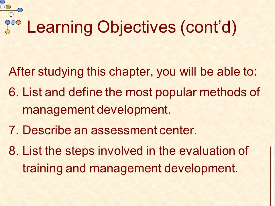 Learning Objectives (cont'd) After studying this chapter, you will be able to: 6.List and define the most popular methods of management development. 7