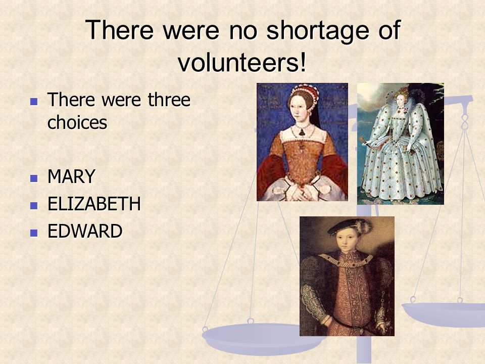 There were no shortage of volunteers! There were three choices There were three choices MARY MARY ELIZABETH ELIZABETH EDWARD EDWARD
