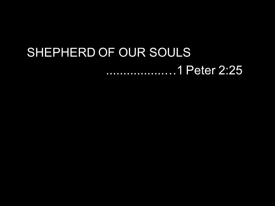 SHEPHERD OF OUR SOULS.................…1 Peter 2:25