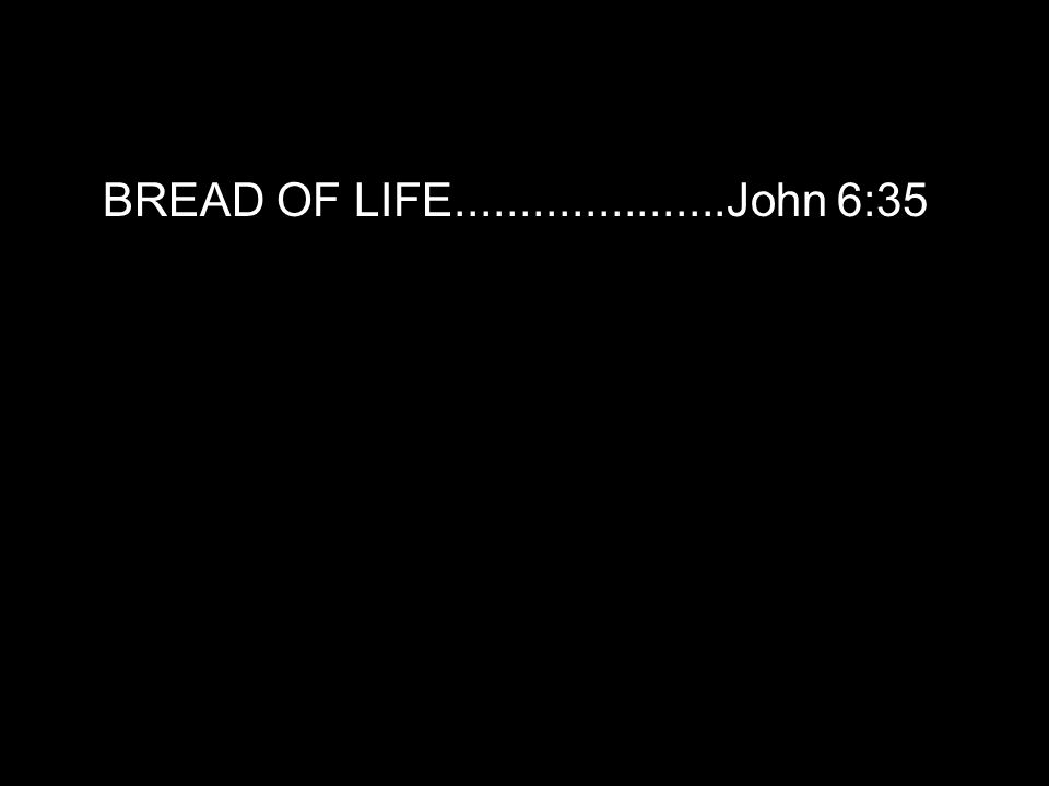 BREAD OF LIFE.....................John 6:35