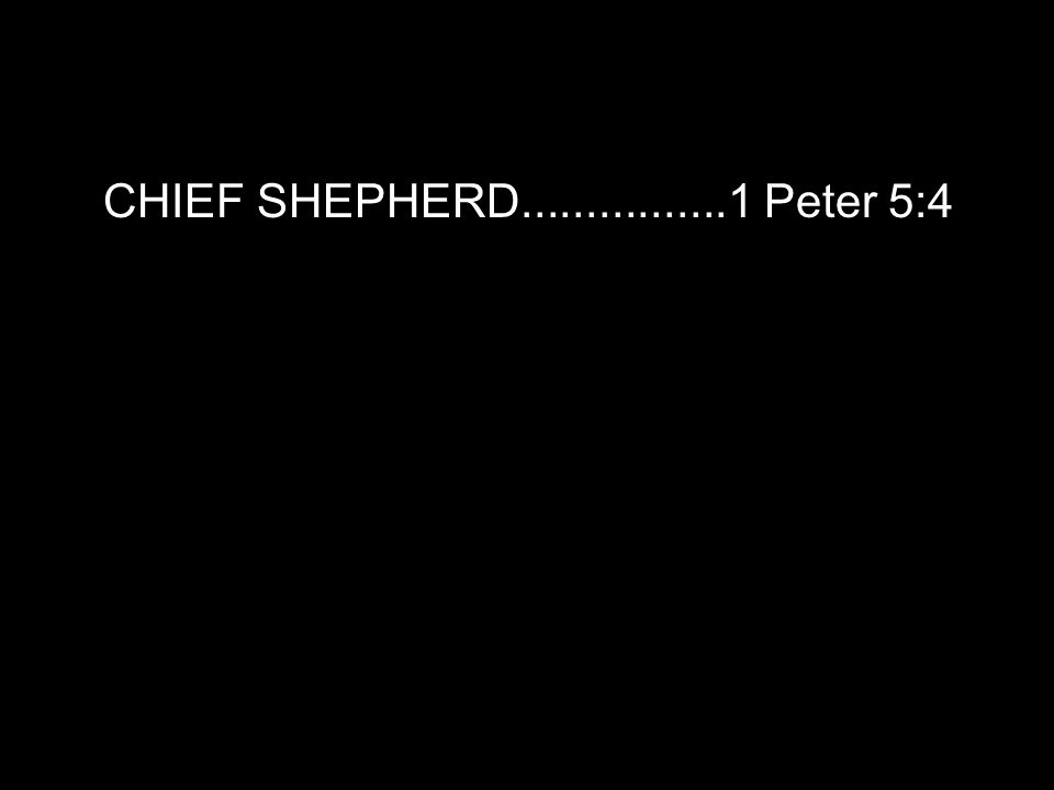 CHIEF SHEPHERD................1 Peter 5:4