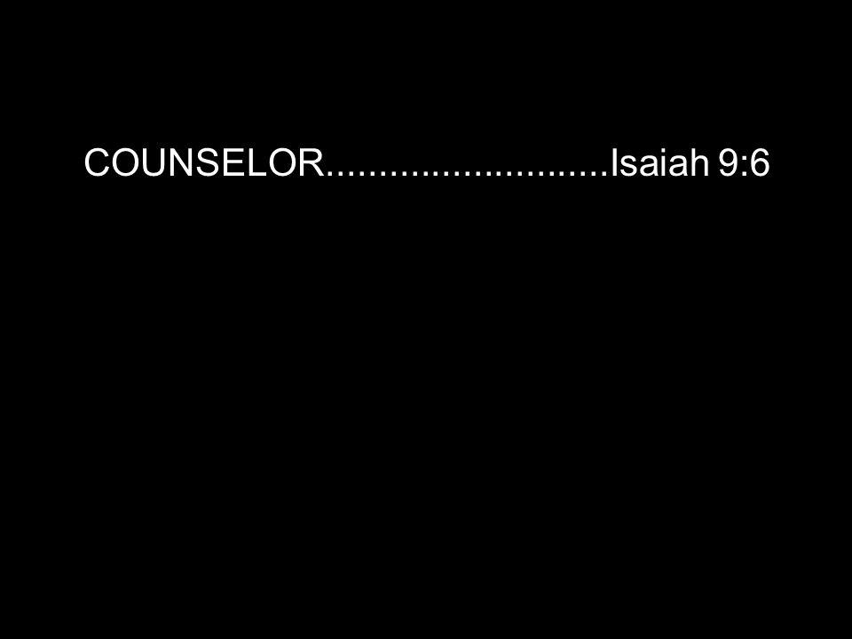 COUNSELOR...........................Isaiah 9:6