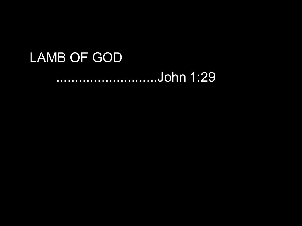 LAMB OF GOD...........................John 1:29
