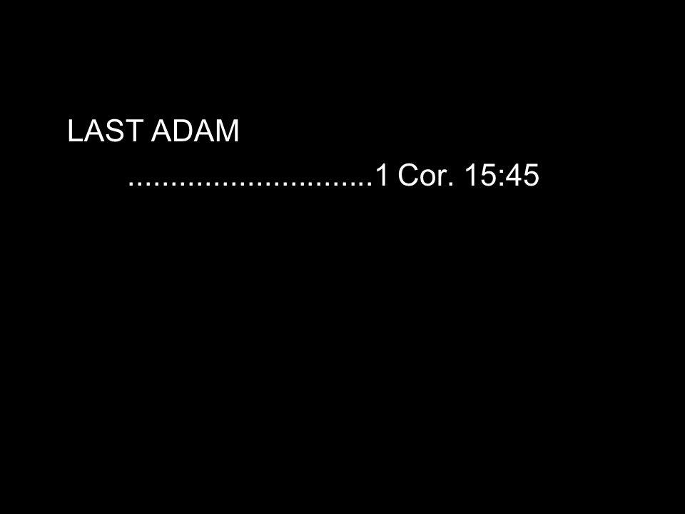 LAST ADAM.............................1 Cor. 15:45