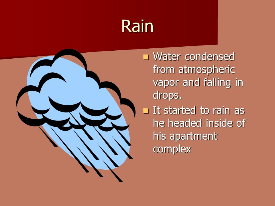 Rain Water condensed from atmospheric vapor and falling in drops.