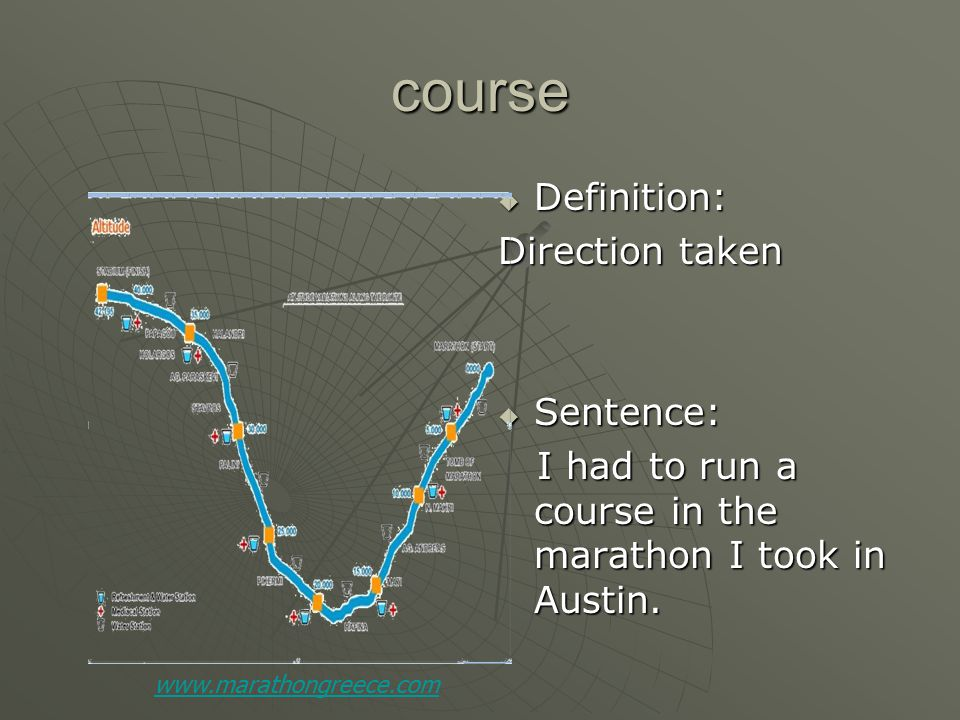 course  Definition: Direction taken  Sentence: I had to run a course in the marathon I took in Austin.