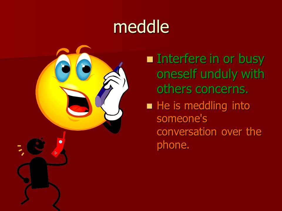 meddle Interfere in or busy oneself unduly with others concerns.