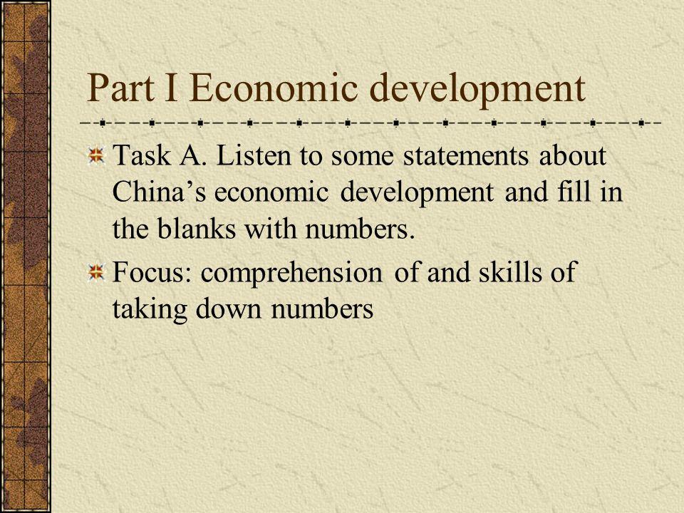 Part I Economic development Task A.