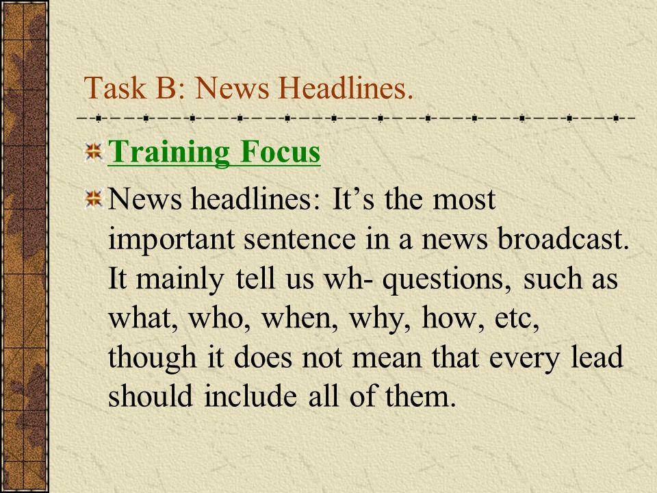 Task B: News Headlines.