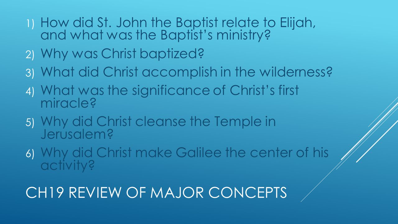 CH19 REVIEW OF MAJOR CONCEPTS 1) How did St.
