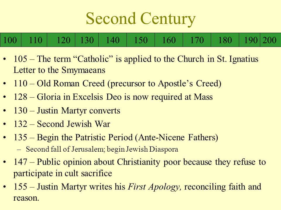 Second Century 105 – The term Catholic is applied to the Church in St.