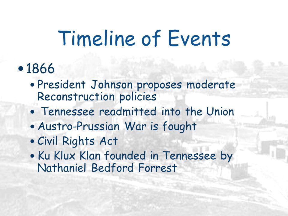 Timeline of Events 1866 President Johnson proposes moderate Reconstruction policies Tennessee readmitted into the Union Austro-Prussian War is fought Civil Rights Act Ku Klux Klan founded in Tennessee by Nathaniel Bedford Forrest