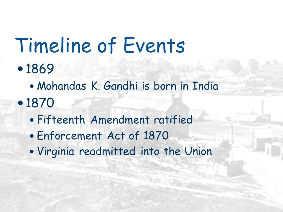 Timeline of Events 1869 Mohandas K.