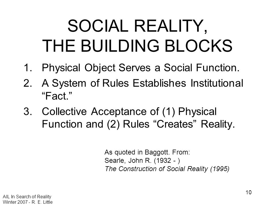 AIL In Search of Reality Winter 2007 - R. E. Little 10 SOCIAL REALITY, THE BUILDING BLOCKS 1.Physical Object Serves a Social Function. 2.A System of R