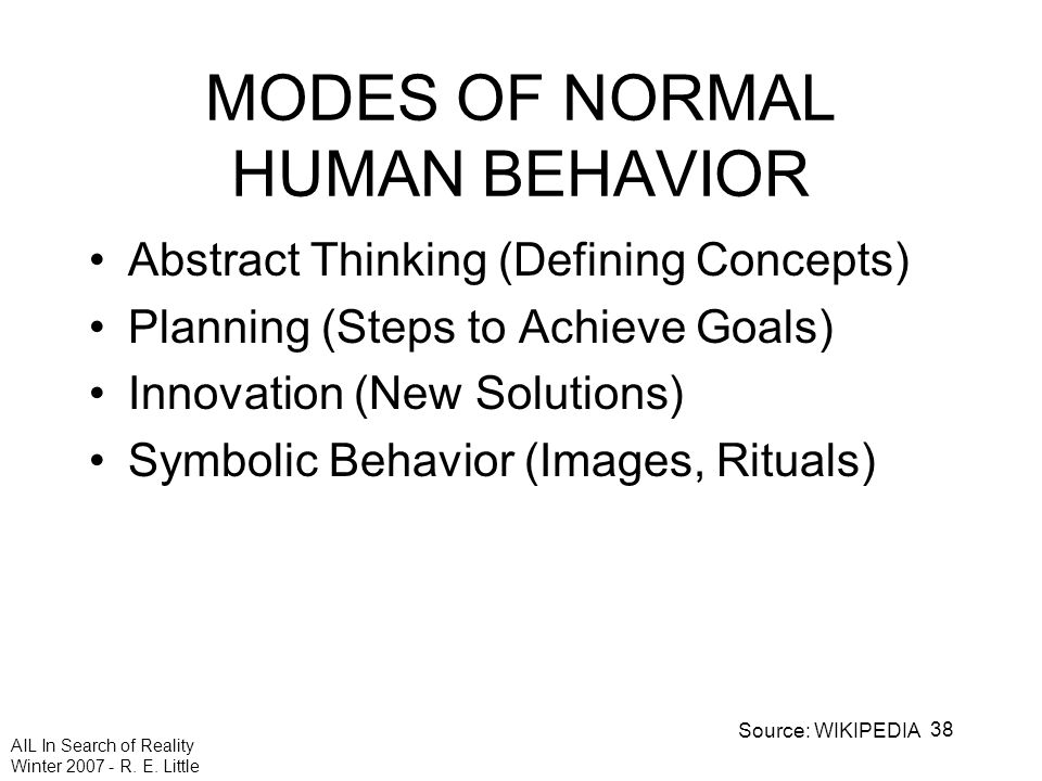 AIL In Search of Reality Winter 2007 - R. E. Little 38 MODES OF NORMAL HUMAN BEHAVIOR Abstract Thinking (Defining Concepts) Planning (Steps to Achieve