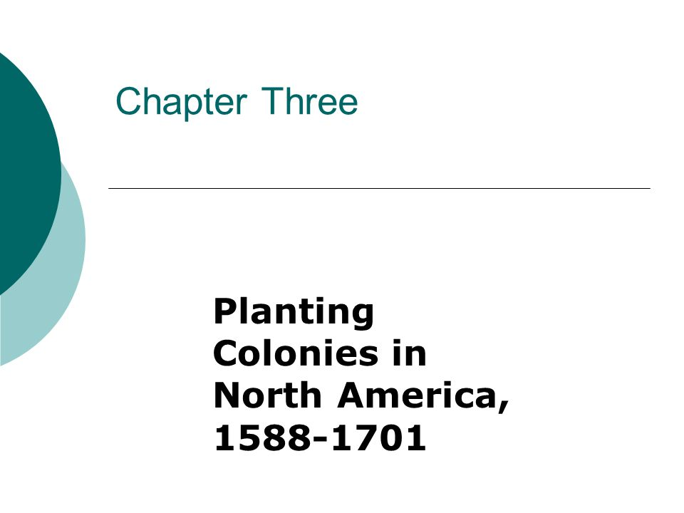 Chapter Three Planting Colonies in North America, 1588-1701