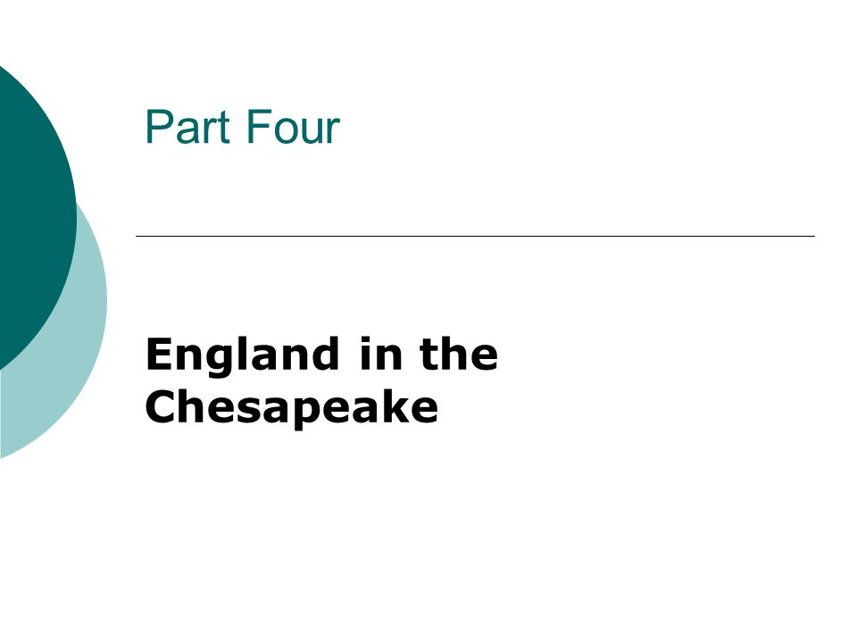 Part Four England in the Chesapeake