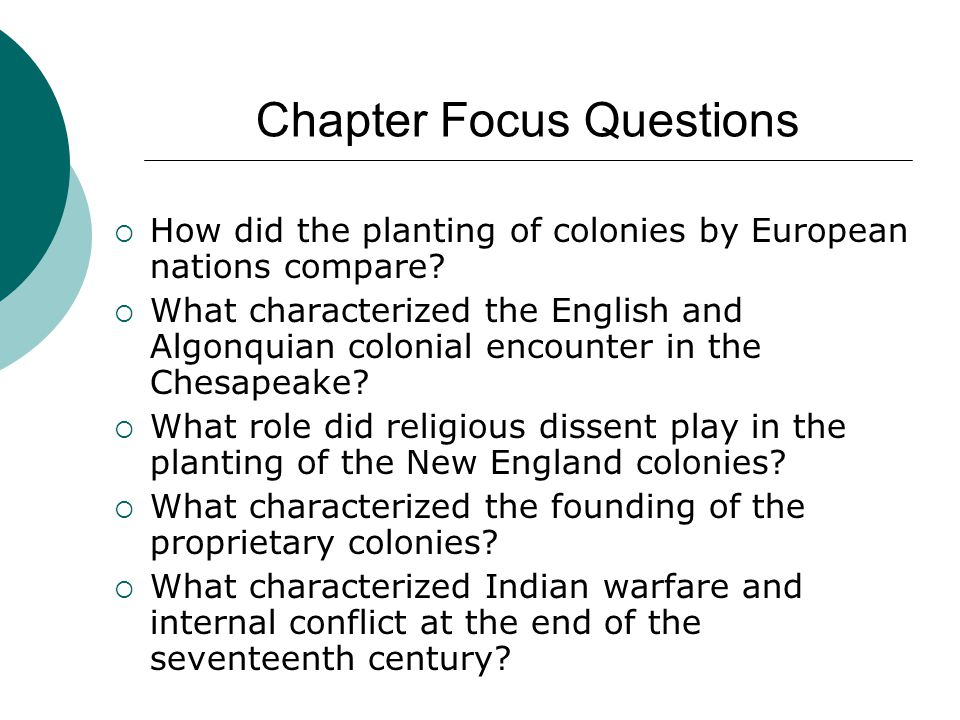 Chapter Focus Questions  How did the planting of colonies by European nations compare?  What characterized the English and Algonquian colonial encou