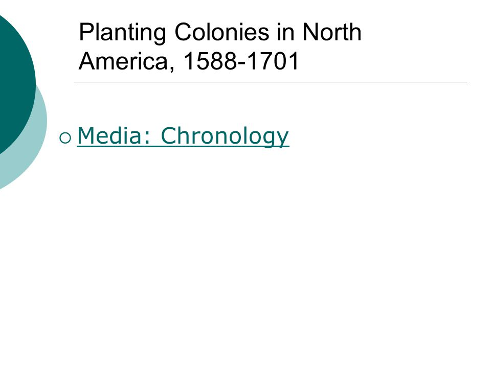Planting Colonies in North America, 1588-1701  Media: Chronology Media: Chronology