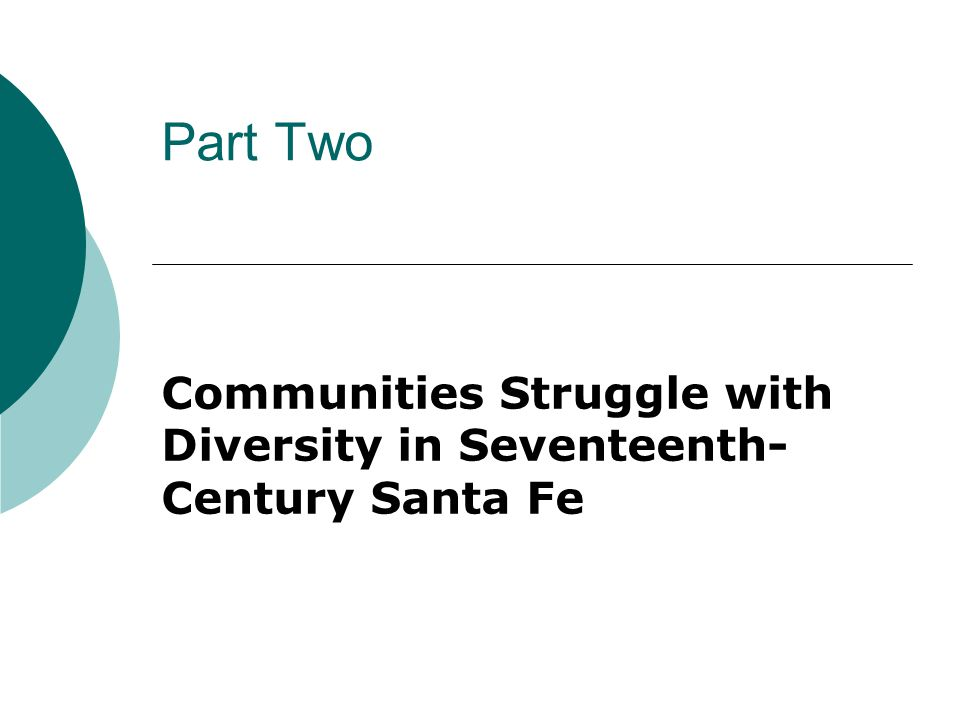 Part Two Communities Struggle with Diversity in Seventeenth- Century Santa Fe