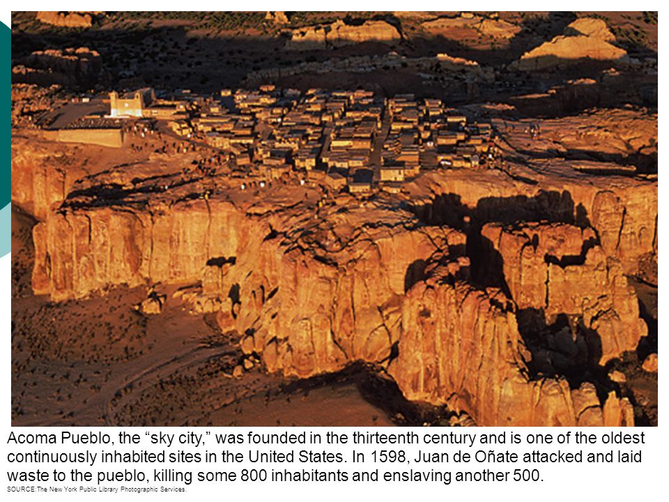 """Acoma Pueblo, the """"sky city,"""" was founded in the thirteenth century and is one of the oldest continuously inhabited sites in the United States. In 159"""