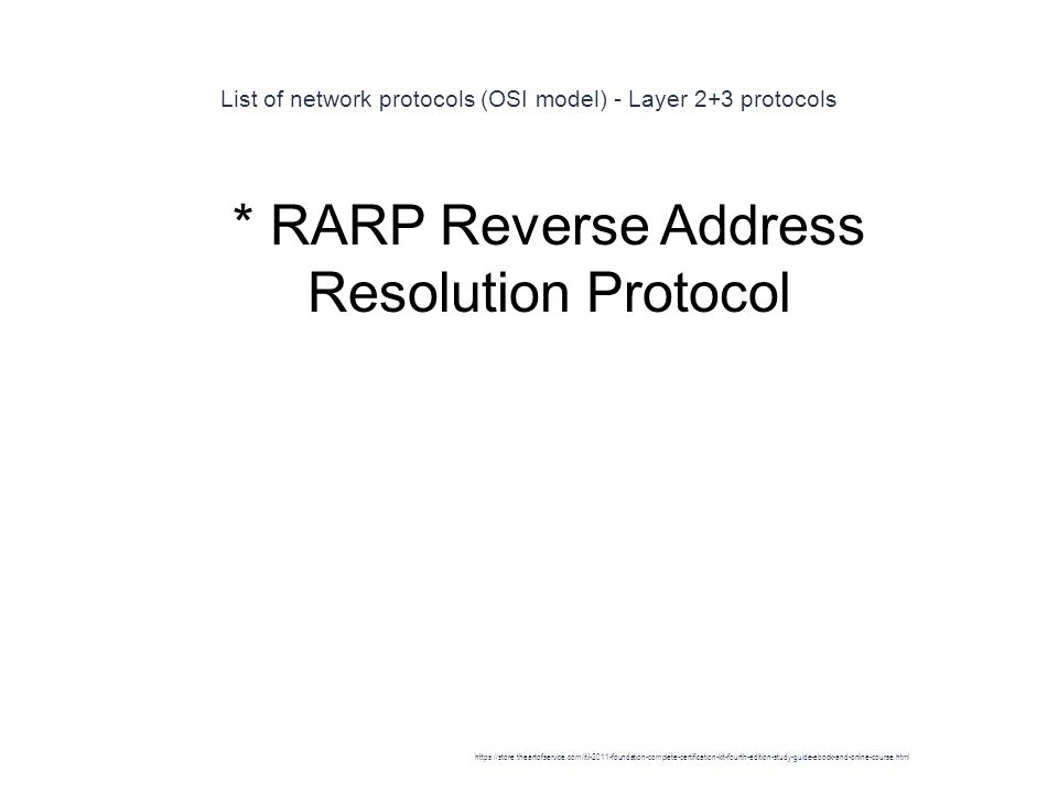 List of network protocols (OSI model) - Layer 2+3 protocols 1 * RARP Reverse Address Resolution Protocol https://store.theartofservice.com/itil-2011-foundation-complete-certification-kit-fourth-edition-study-guide-ebook-and-online-course.html